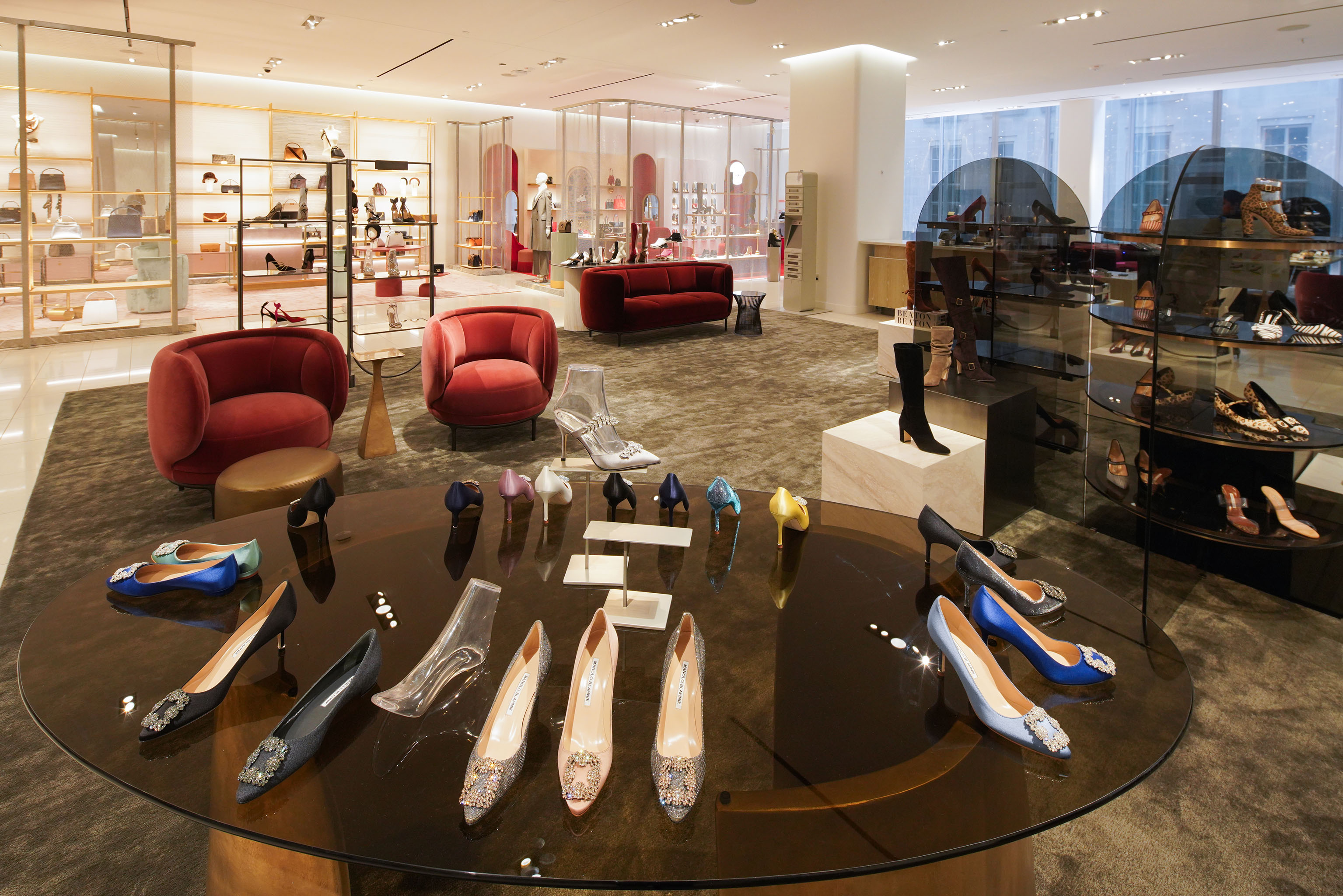 Designer shoes at the Nordstrom women's flagship in Manhattan.