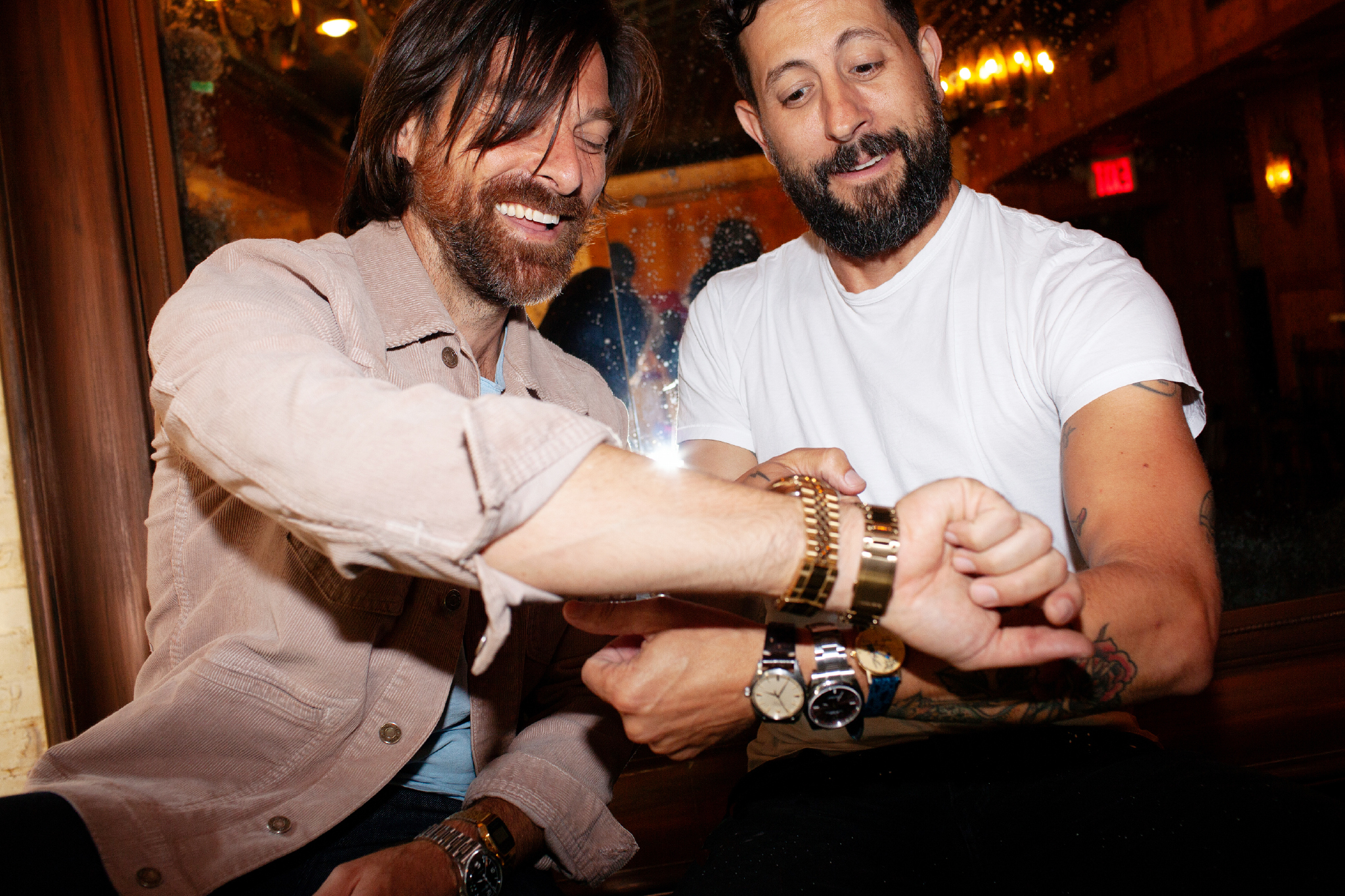 Geoff Sprung and Matthew Ramsey of Old Dominion compare watches.