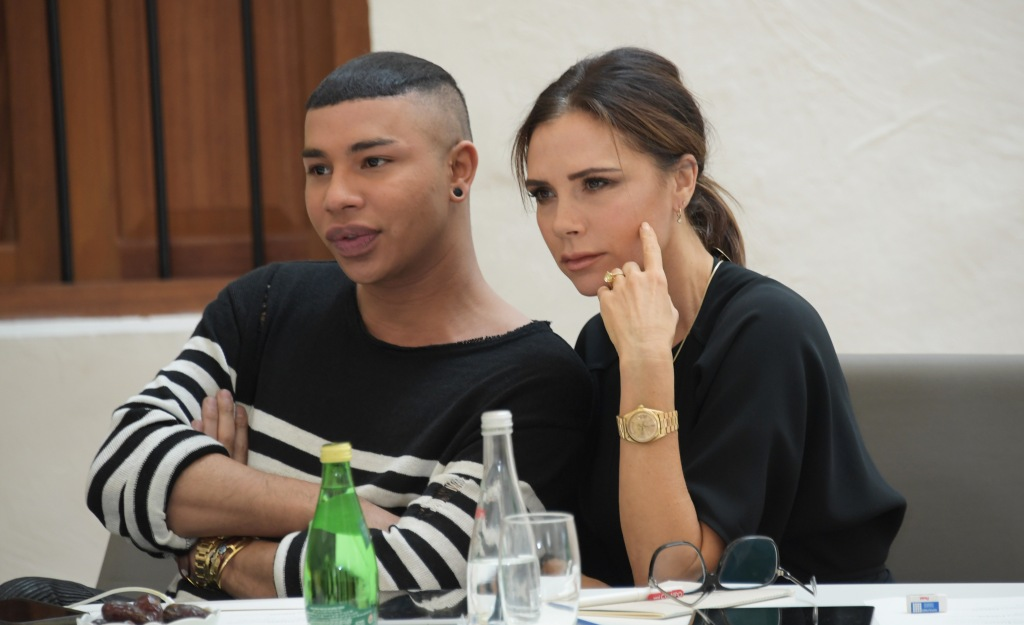 DOHA, QATAR - MARCH 28:  Olivier Rousteing and Victoria Beckham attend the Fashion Trust Arabia Prize Judging Day on March 28, 2019 in Doha, Qatar.  (Photo by David M. Benett/Dave Benett/Getty Images for Fashion Trust Arabia)