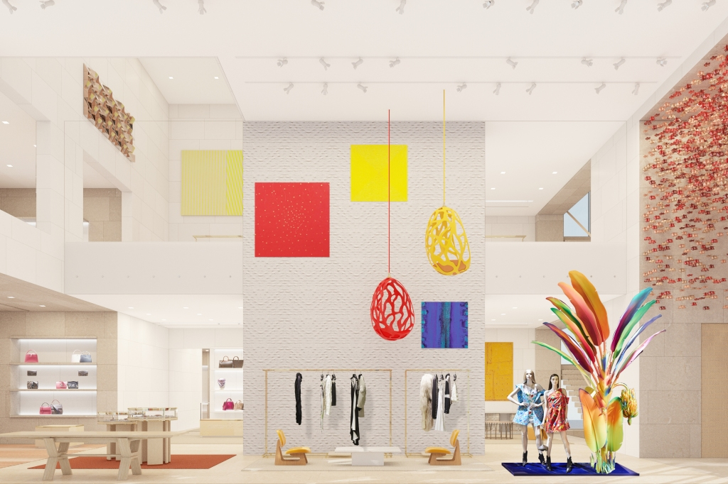 A rendering of the interior of the new Louis Vuitton Maison in Seoul.
