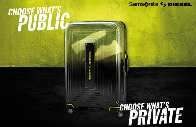 The Samsonite x Diesel collection's ad campaign.