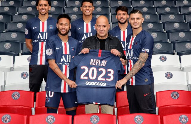 Replay's ceo Matteo Sinigaglia with part of Paris Saint-Germain soccer team.