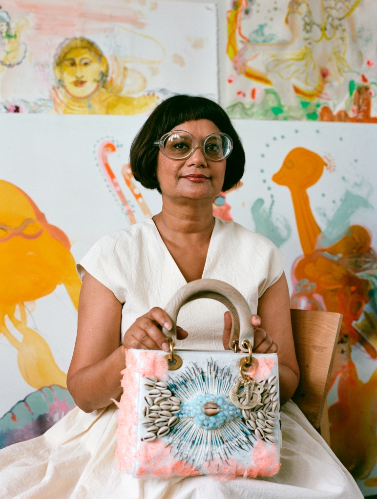 Rina Banerjee with her Dior Lady Art design.