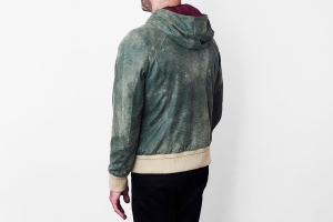 A leather hoodie from Savas.