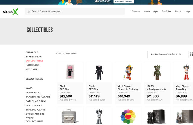 The StockX collectibles page.