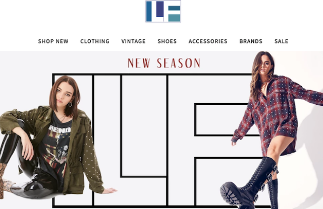 LF stores homepage