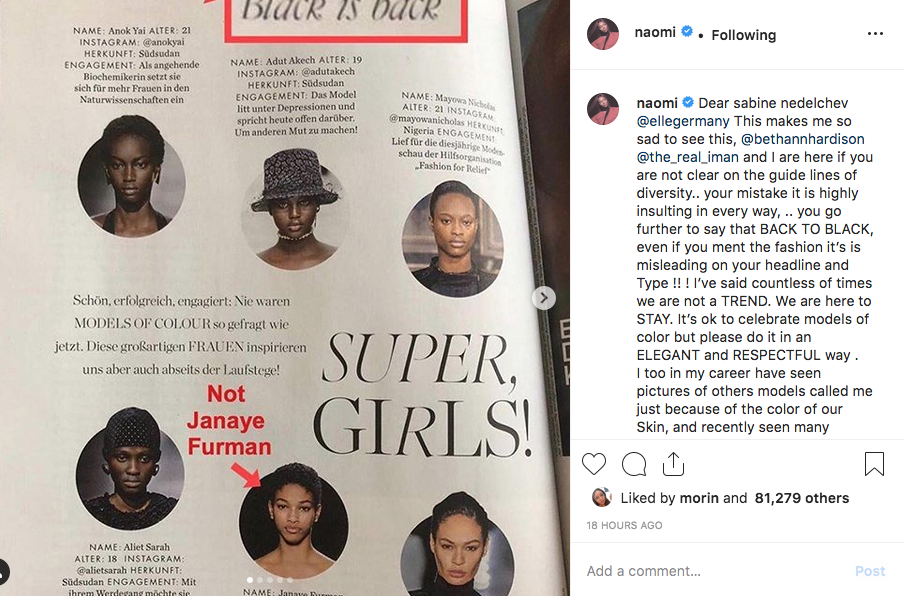 Naomi Campbell's reaction to the Elle Germany furore.