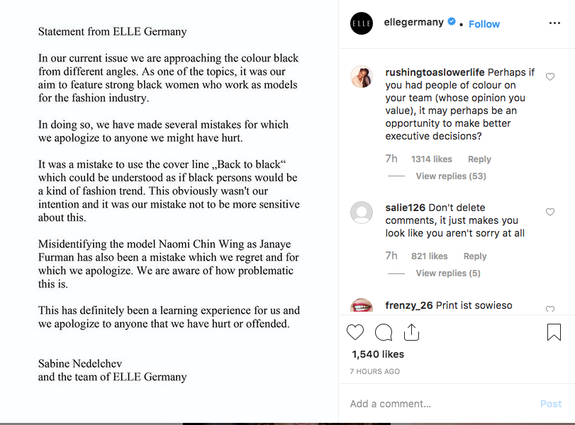 Elle Germany's apology.