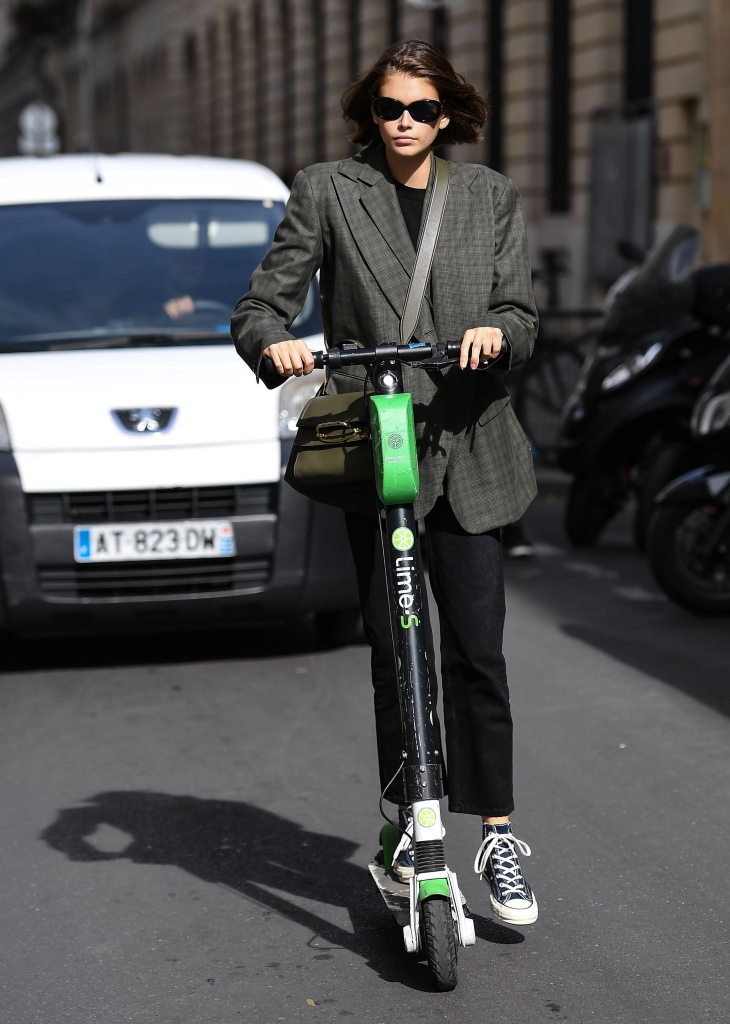 Kaia Gerber riding around on a scooterKaia Gerber out and about, Paris Fashion Week, France - 30 Sep 2019
