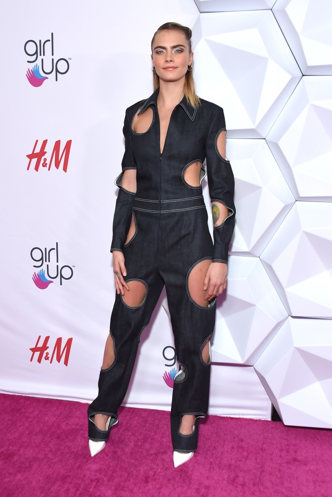 Cara Delevingne2nd Annual Girl Up GirlHero Awards, Arrivals, Beverly Wilshire, Los Angeles, USA - 13 Oct 2019Wearing Guy Laroche same outfit as catwalk model *10423053ah