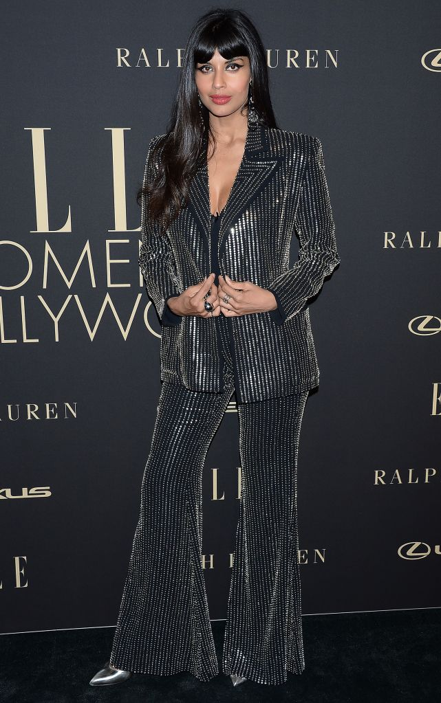 Jameela JamilElle Women in Hollywood, Arrivals, Four Seasons Hotel, Los Angeles, USA - 14 Oct 2019Wearing Azzaro same outfit as catwalk *10068407e