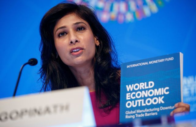 Chief Economist and Director of the Research Department at the IMF Gita Gopinath responds to a question from the news media during the World Economic Outlook press conference at IMF Headquarters in Washington, DC, USA, 15 October 2019. The IMF, for the fifth time, cut the 2019 global growth forecast, as trade tensions undermine global expansion.World Economic Outlook press conference held during the IMF World Bank Annual Meetings, Washington, USA - 15 Oct 2019