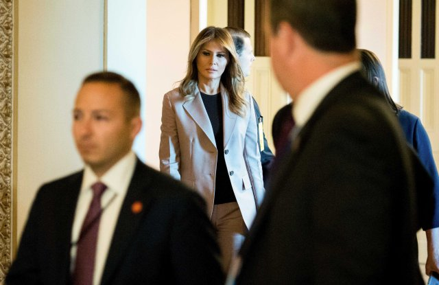 First lady Melania Trump departs a roundtable discussion on the opioid crisis, on Capitol Hill in Washington, . The first lady marked the first anniversary of the President's signing of the SUPPORT for Patients and Communities Act and it's impact on the countryFirst Lady Opiods, Washington, USA - 23 Oct 2019
