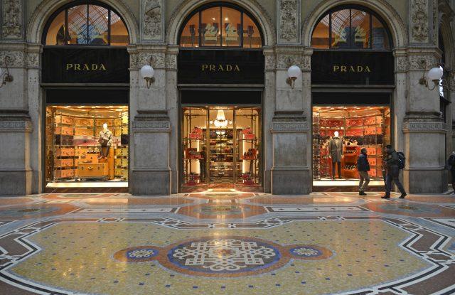 Prada store, luxury shopping arcade Galleria Vittorio Emanuele II, Milan, Lombardy, ItalyVARIOUS