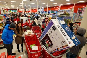 On Black Friday, Target offers its lowest prices of the season on items like TVs and electronics as shoppers shop, in Jersey City, N.JTarget Black Friday, Jersey City, USA - 23 Nov 2017