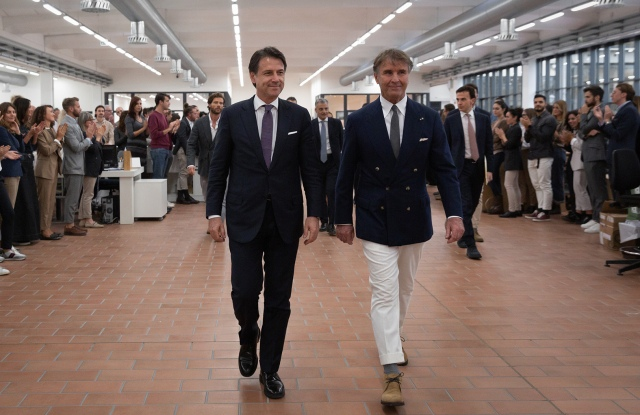 Italy's Prime Minister Giuseppe Conte and Brunello Cucinelli at the company's headquarters in Solomeo.