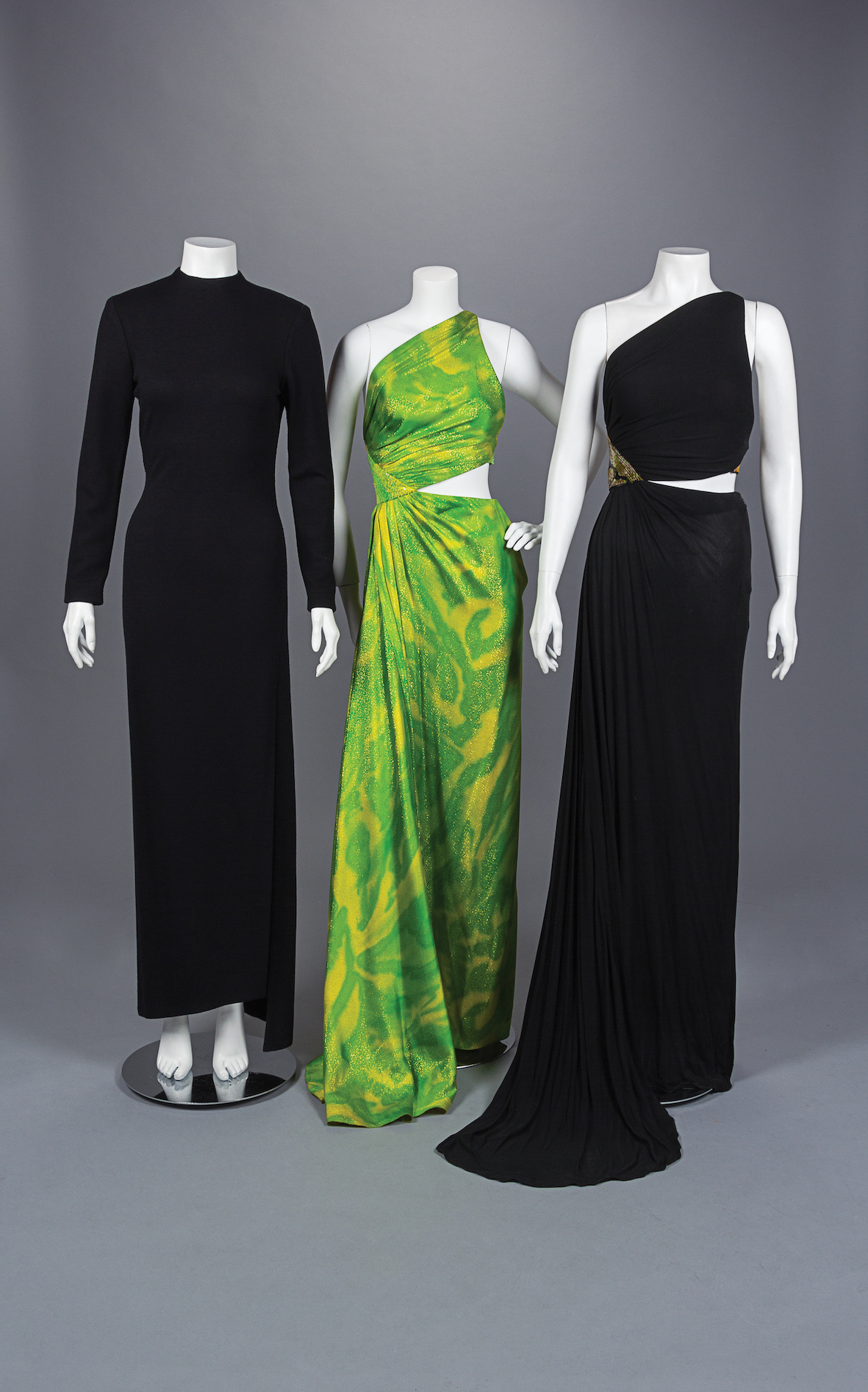 Three Geoffrey Beene dresses from 1992.