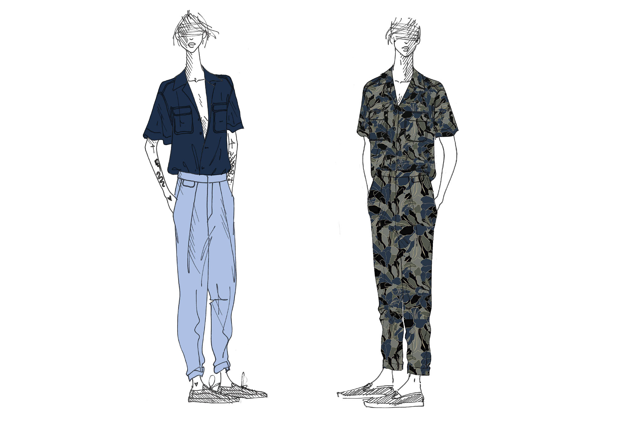 Sketches of looks from the Equipment Gender Fluid collection