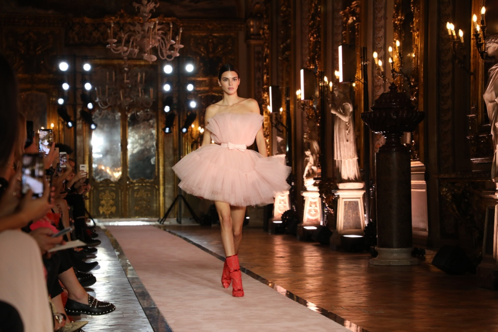Kendall Jenner on the catwalk at Giambattista Valli x H&M show in Rome