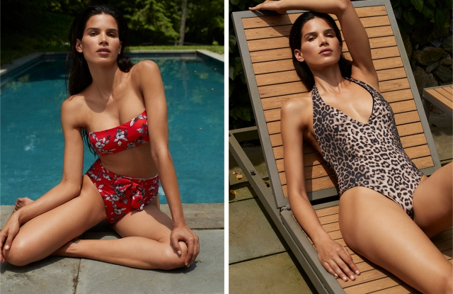 Two swimsuits in the Veronica Beard resort swim collection.