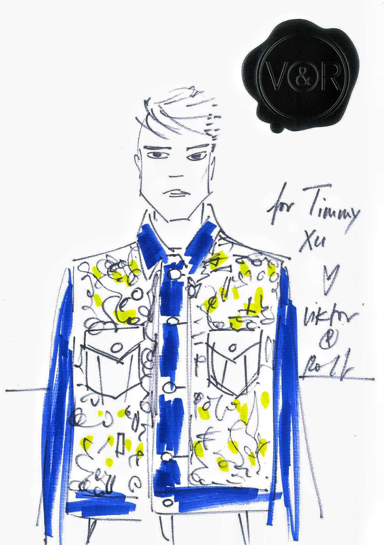A sketch of Viktor & Rolf denim jacket for Xu Weizhou