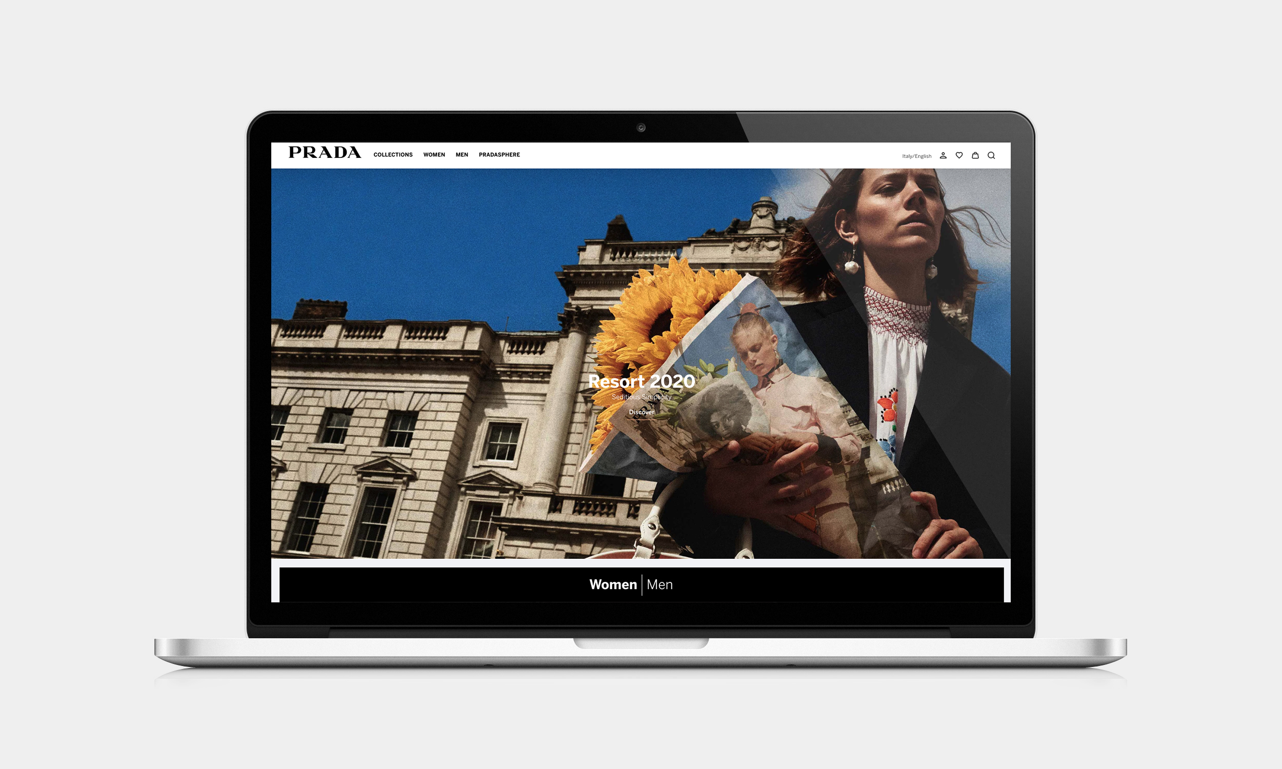 Prada's revamped Web site.