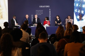 """NEW YORK, NEW YORK - NOVEMBER 08: (L-R) Gianni Riotta, Richard Armstrong, Amanda Gorman, Amale Andraos, and Mariarosa Cutillo participate in a panel discussion during Prada """"Shaping a Sustainable Future Society"""" conference in New York on November 08, 2019 in New York City. (Photo by Sean Zanni/Getty Images for Prada)"""