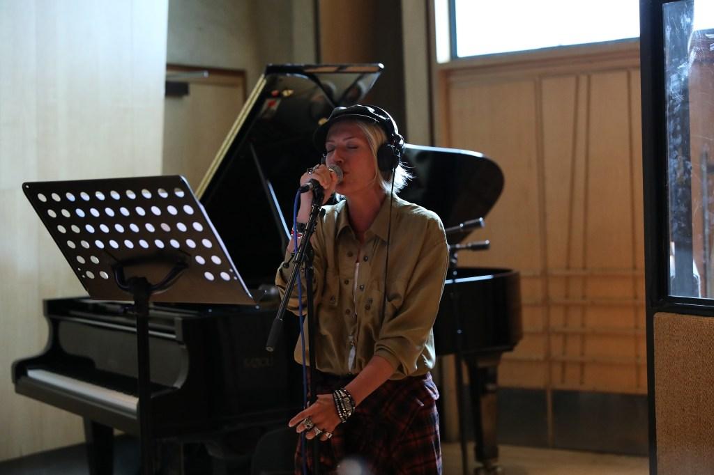 "Caroline Koch in studio recording her latest EP called ""Stars Aligned."""