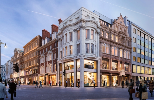 A rendering of the new mixed-use development on New Bond Street, that will house Canali, KKR and Glencore.