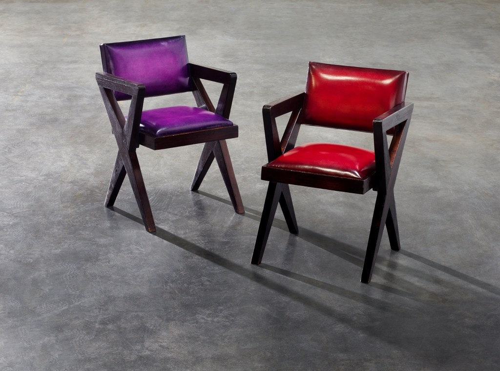 Pierre Jeanneret cinema chairs customized with Berluti Venezia leather in Sukhna purple and Simal red.