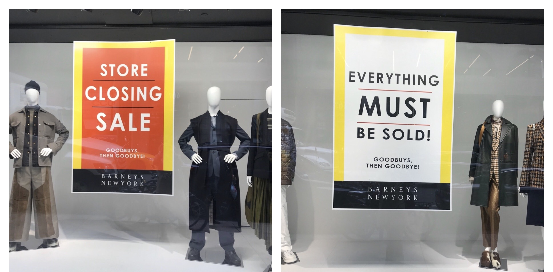 Two separate windows at Barneys New York's Madison Avenue flagship.