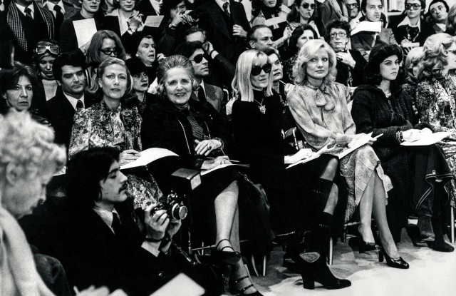 The star-studded front row of friends at one of YvesÕ collections at rue Spontini in the early 1970s. From left, HŽlne Rochas, Countess Lily Volpi, Betty Catroux, Silvia de Waldner, Olympia de Rothschild. Behind: Charlotte Aillaud, Kim dÕEstainville, Clara Saint, Franois Catroux, the Lalannes, and Suzanne Luling.