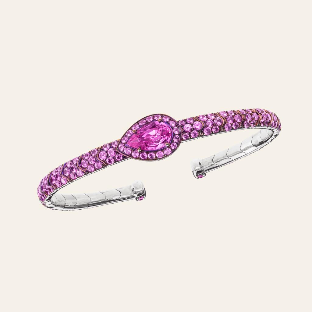 A Sabbadini bracelet with pink sapphires.