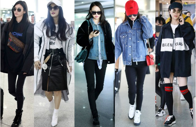 Airport style is a big fashion statement in China. From left to right: He Sui, Fan Bingbing, Zhang Zilin, Tiffany Yang and Hai Qing.