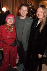 LONDON, ENGLAND - NOVEMBER 21: (L-R) Zandra Rhodes, Christopher Kane and Tammy Kane attend a special Afternoon Tea event at Hoi Polloi to celebrate the launch of the Christopher Kane 'More Joy' Christmas Tree on November 21, 2019 in London, England. Pic credit: Dave Benett