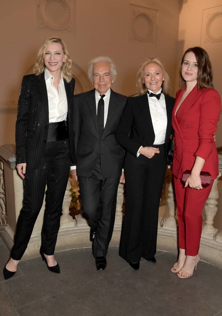 LONDON, ENGLAND - NOVEMBER 14: Cate Blanchett, Ralph Lauren, Ricky Lauren and Claire Foy attend the UK Premiere of 'Very Ralph' at Royal Academy of Arts on November 14, 2019 in London, England. Pic Credit: Dave Benett