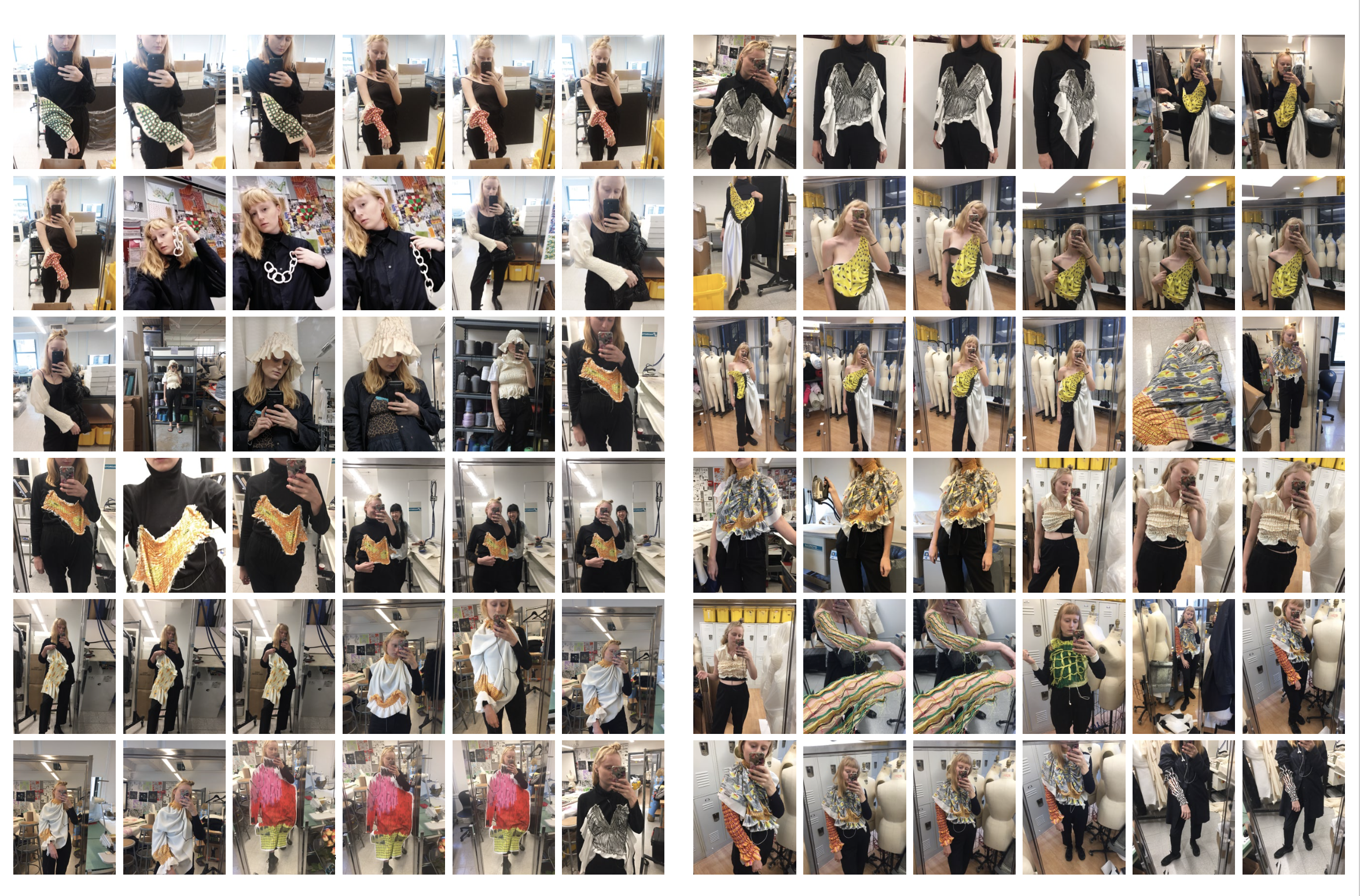 Selfies taken by Amy Crookes during Parsons school project seen in 1 Granary issue six