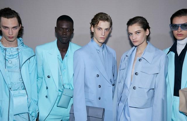Models wear Hugo Boss in Milan.