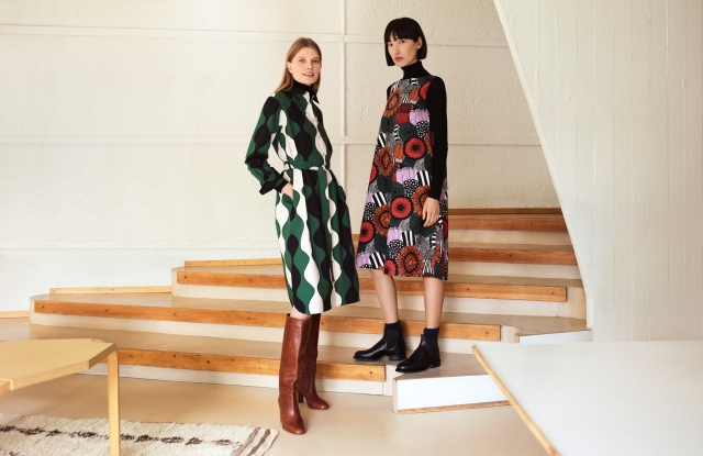 Two looks from the Uniqlo x Marimekko collection.