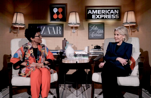 """Peggy Shepard and Jane Fonda speak onstage during Jane Fonda For Harper's Bazaar """"Dare I Say"""" Live Podcast Hosted by Saks Fifth Avenue And American Express at LAvenue at Saks Fifth Avenue."""