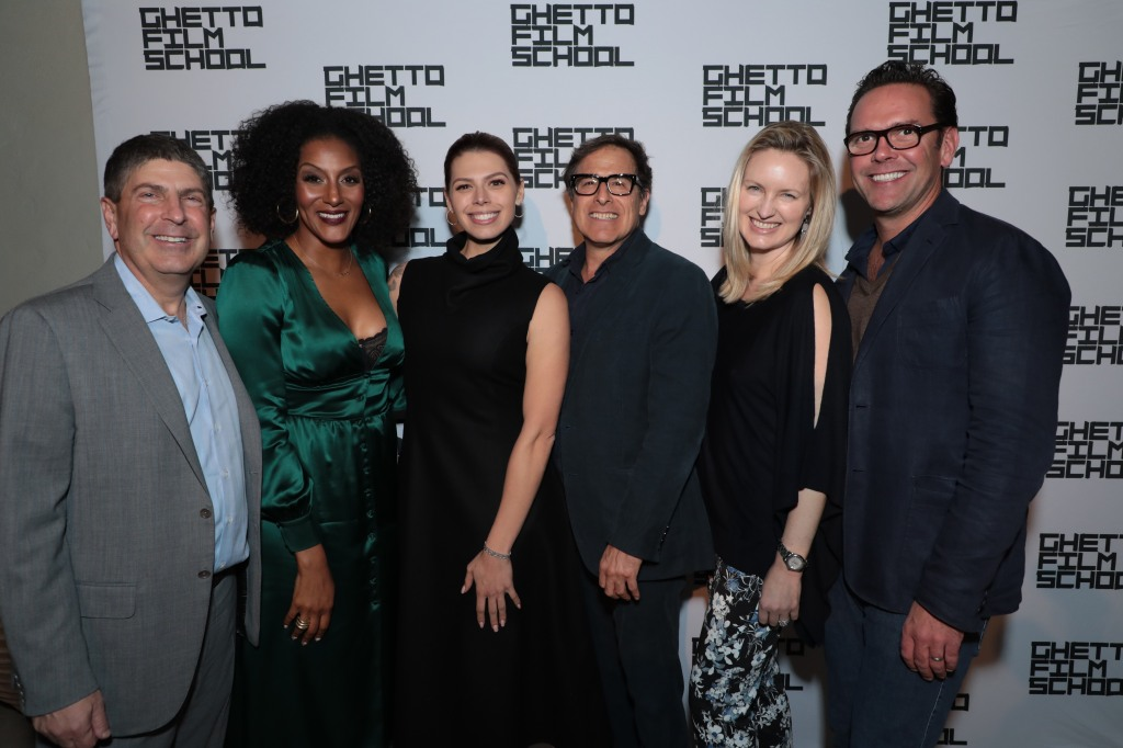Jeff Shell, Sarah Jones, Erika Olde, David O. Russell and hosts Kathryn and James Murdoch attend as Ghetto Film School honors Jeff Shell at a Private Residence on November 7, 2019 in Beverly Hills, CA (photo: Alex J. Berliner/ABImages)