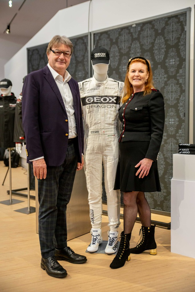 Mario Moretti Polegato, president of Geox and Sarah Ferguson, Duchess of York at the unveiling of Geox Dragon's Penske EV-4 racing car for the 2019-20 ABB FIA Formula E championship.
