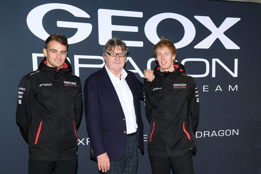Mario Moretti Polegato, president of Geox with Geox Dragon's pilots Brendon Hartley and Nico Müller.