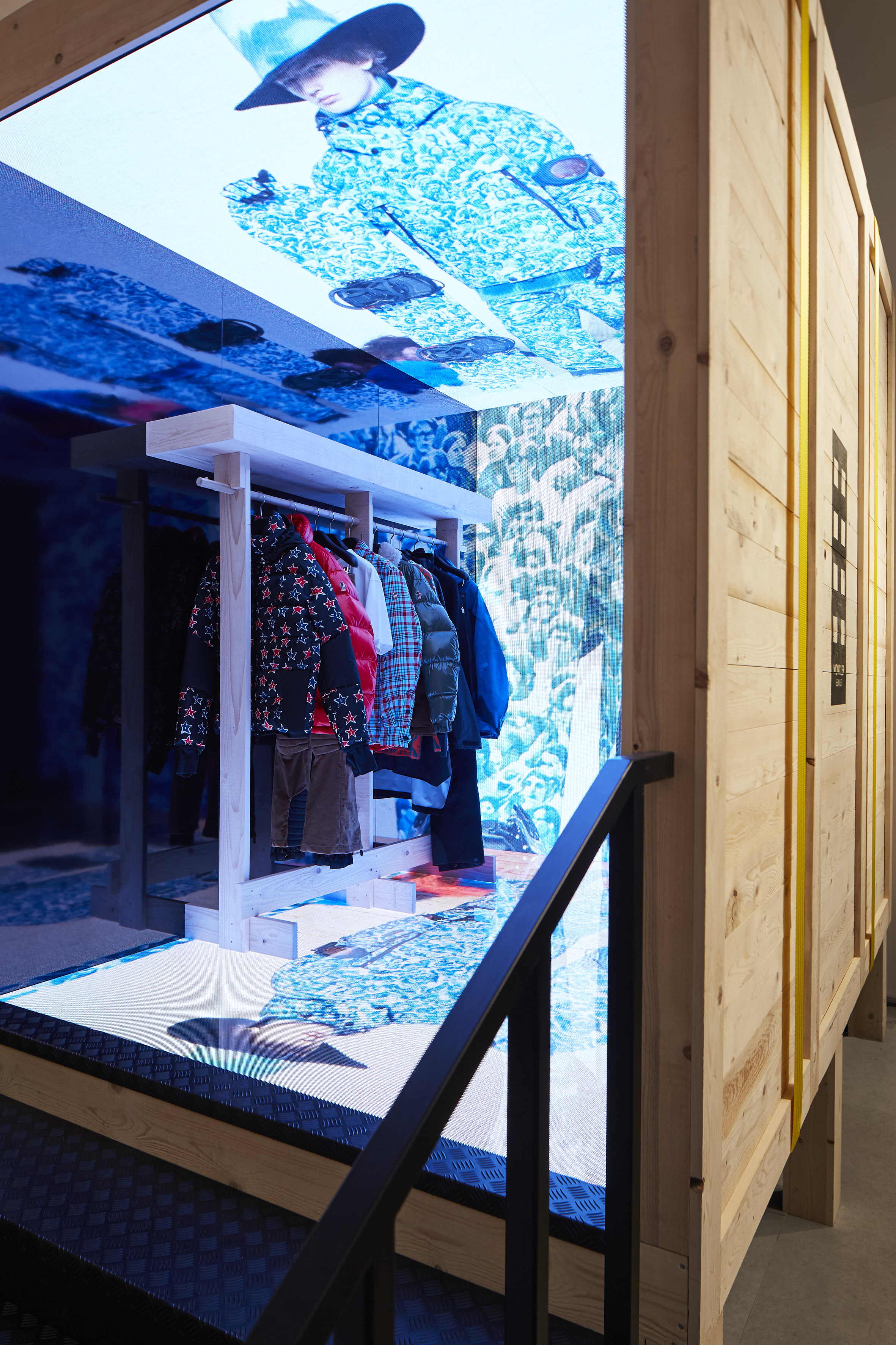 Inside a Moncler House of Genius pop-up store.