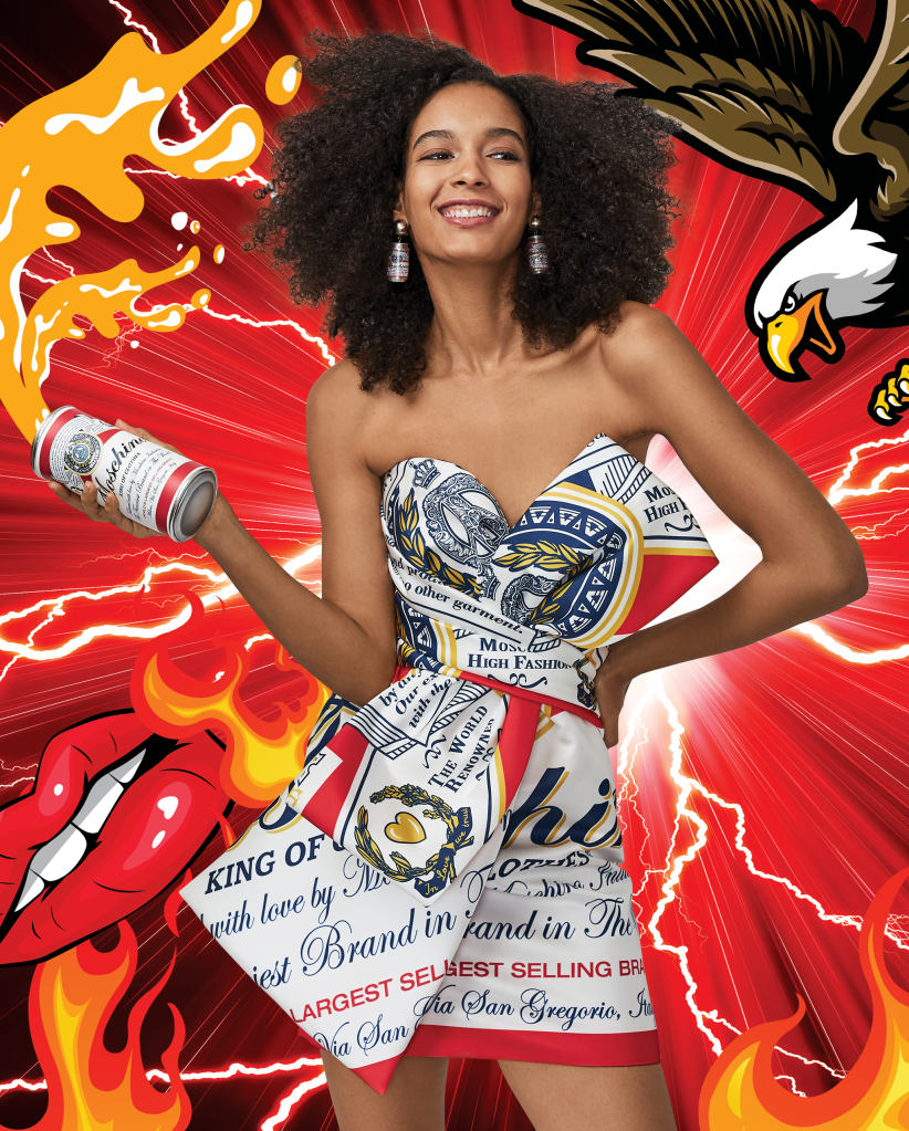 A look from the Moschino X Budweiser capsule