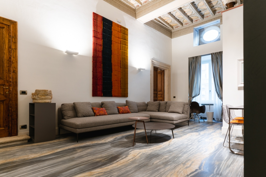 A living room of one of the apartments of Palazzo delle Pietre in Rome.