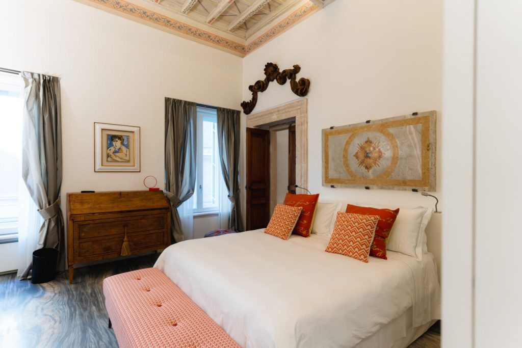A bedroom of one of the apartments of Palazzo delle Pietre in Rome.