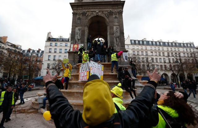 'Gilets Jaunes' (Yellow Vests) protesters gather in central Paris to mark the one year anniversary of the protest movement, in Paris, France, 17 November 2019. November 17 marks one year to the day since the Yellow Vest movement started their weekly protest action in France.First anniversary of the Yellow Vests protest movement, Paris, France - 17 Nov 2019