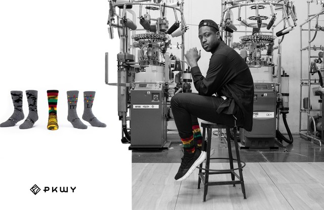Dwyane Wade in a marketing image from his new lifestyle sock collection.