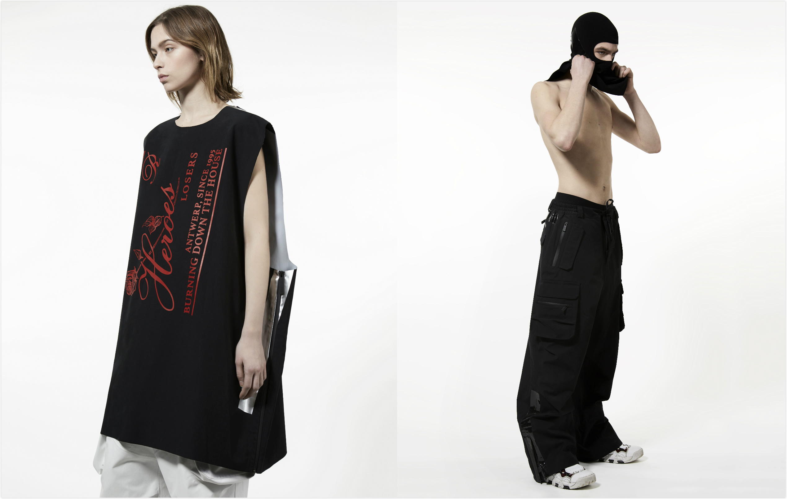 Two looks from Raf Simons x Templa collaboration